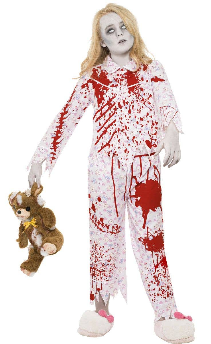 girls blood splattered zombie pyjamas costume main image