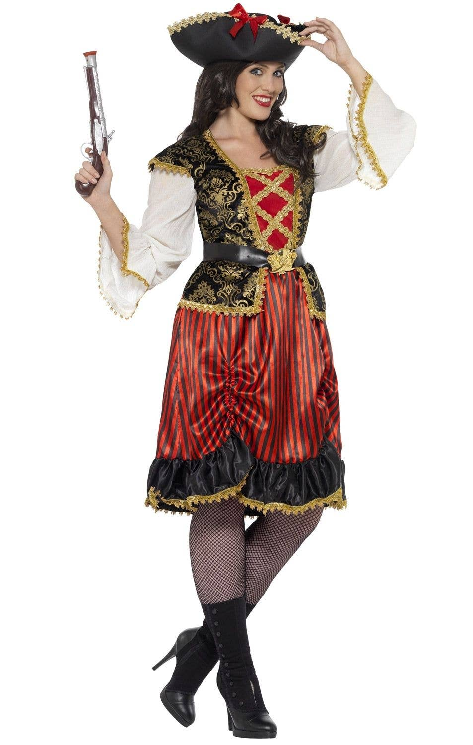 Curves Pirate Lady Women s Plus Size Fancy Dress Costume Front View ca010ada3