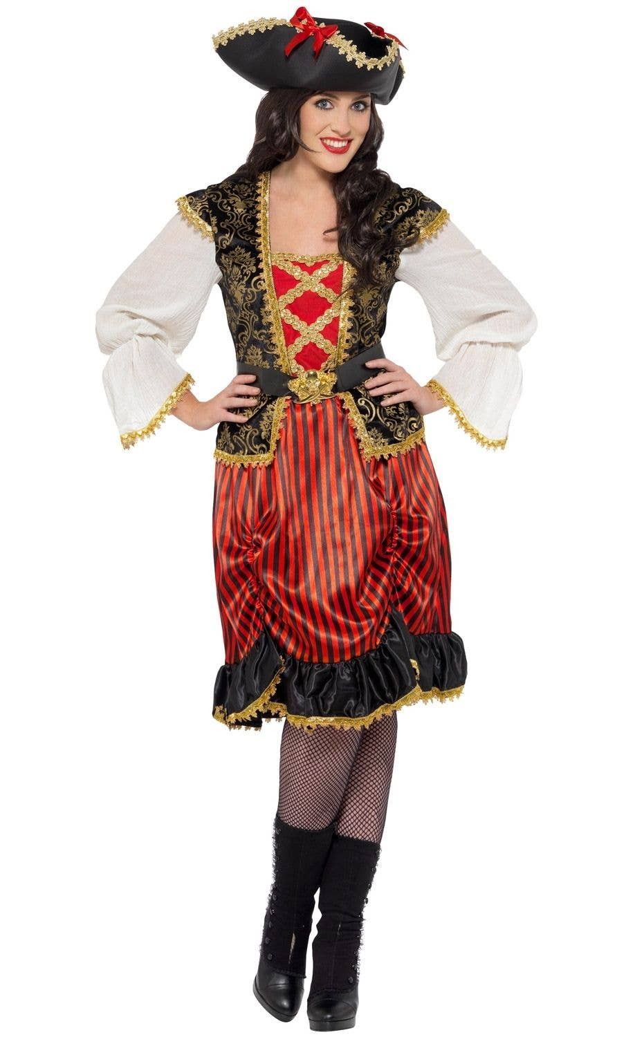 b4cd4697acbc0 Curves Pirate Lady Women s Plus Size Fancy Dress Costume Front View 2