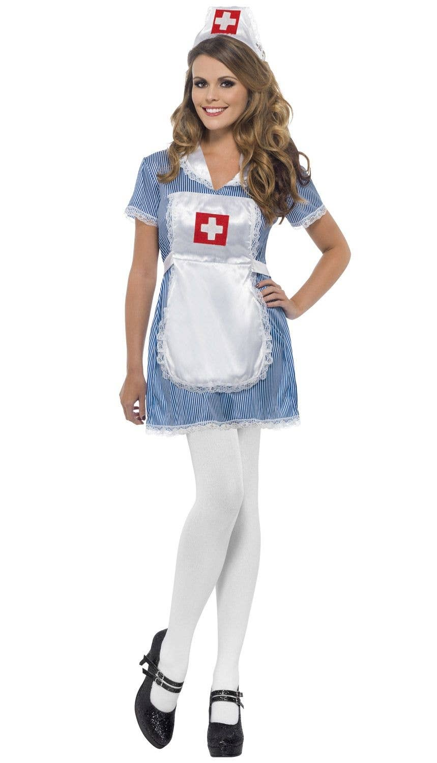 59c2c6b5dc5 Women s Blue and White Naughty Nurse Costume Front View