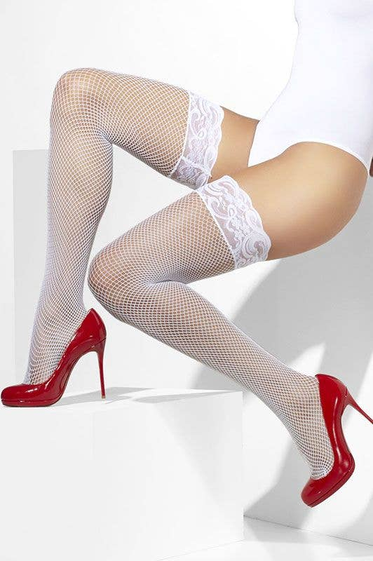 da1622ee835e3 Fishnet White Stay Up Stockings | White Lace Top Thigh Highs