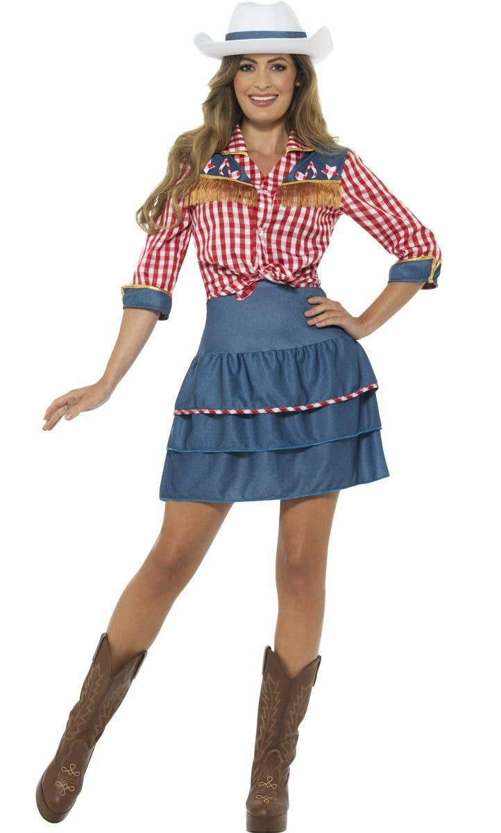 Women s Wild West Rodeo Doll Cowgirl Fancy Dress Costume Main Image 419eaa13ae