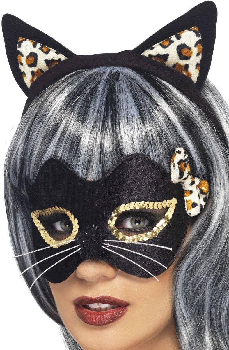 Fancy Dress Cat Mask with Whiskers Black//White New by Smiffys