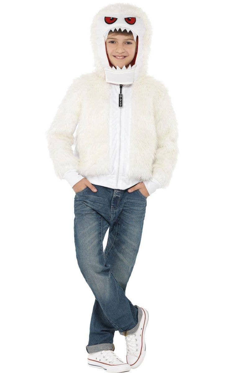 Boyu0027s Abominable Snowman White Jacket Costume Front View  sc 1 st  Heaven Costumes & Kids White Yeti Costume | Boyu0027s Furry Monster Halloween Costume