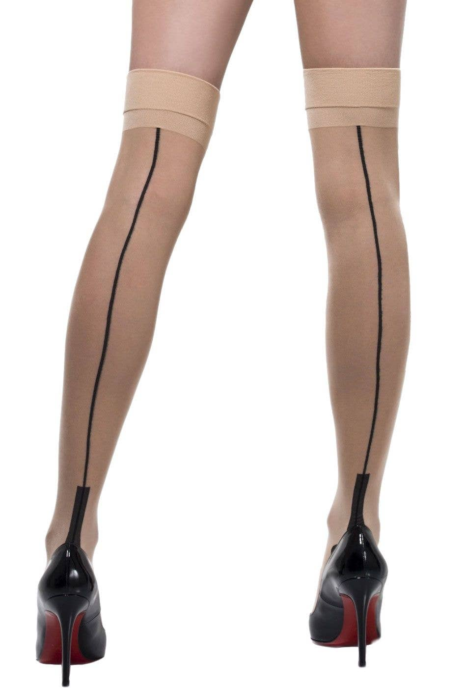ac33bc66bbdd9 Fever Hosiery Sheer Nude Cuban Heel Thigh High Stockings with Back Seam  Main Image