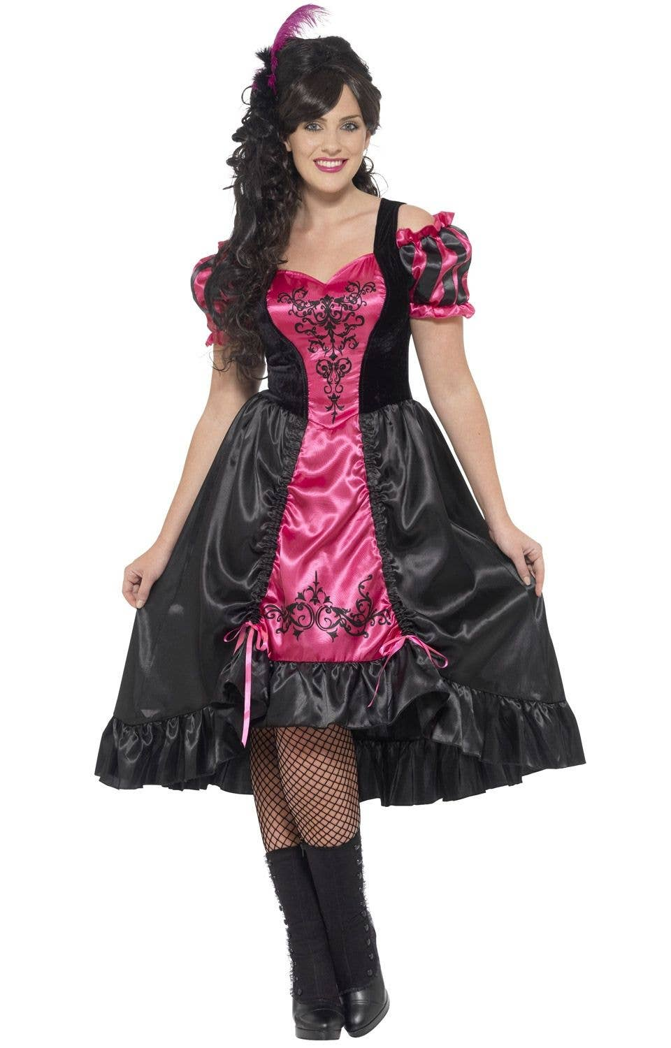 bbf47c73d21 Pink and Black Plus Size Western Saloon Women s Costume Front 2