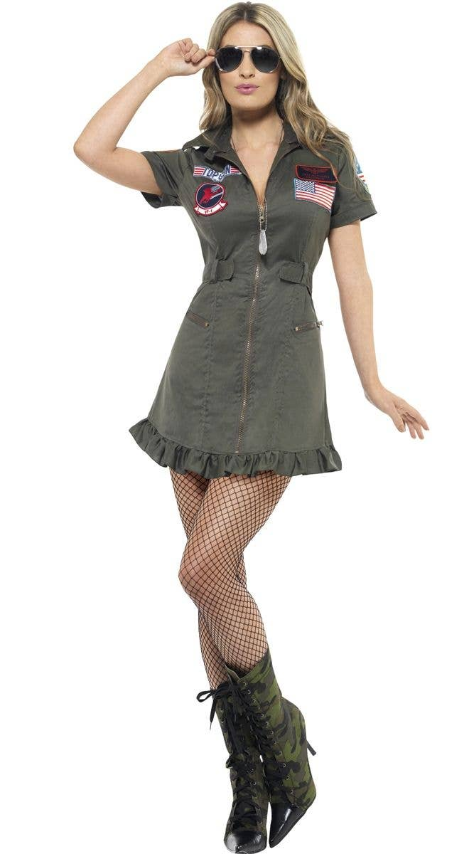 Sexy Top Gun Flight Suit Aviator Costume For Women Main Image 82b069d67