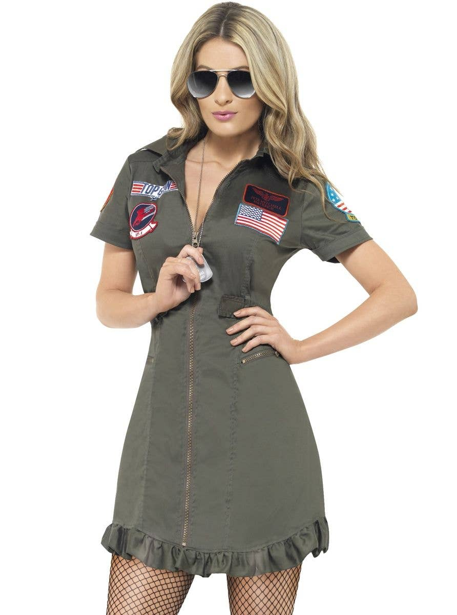 Sexy Top Gun Flight Suit Aviator Costume For Women Alternate Image 2 7d01cb952