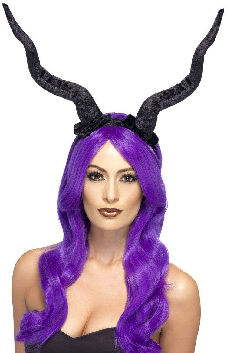 Black Demon Horns On Headband