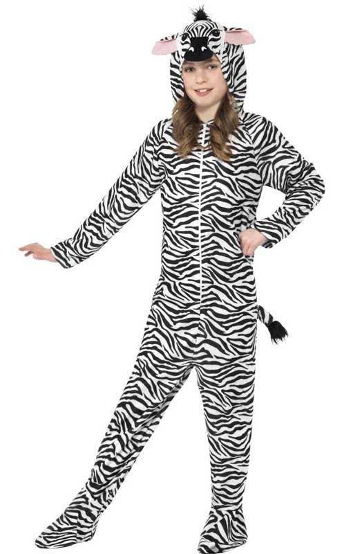 Girls Zebra Animal Zoo Wild Halloween Book Day Week Fancy Dress Costume Outfit