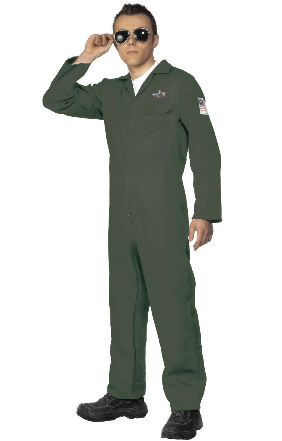 d023bfa1b Aviator Men's Dark Green Flight Suit Costume