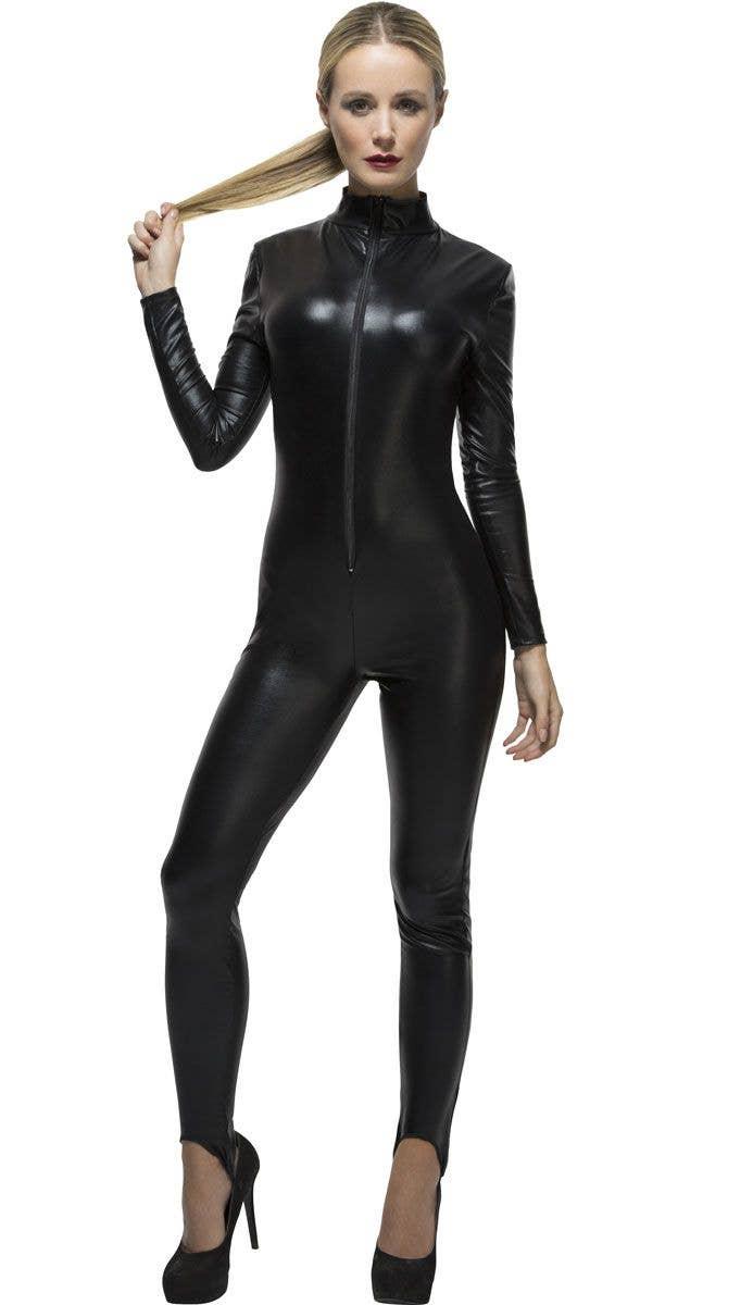 871b6901d13 Women s Sexy Black Wet Look Catwoman Costume Main Image