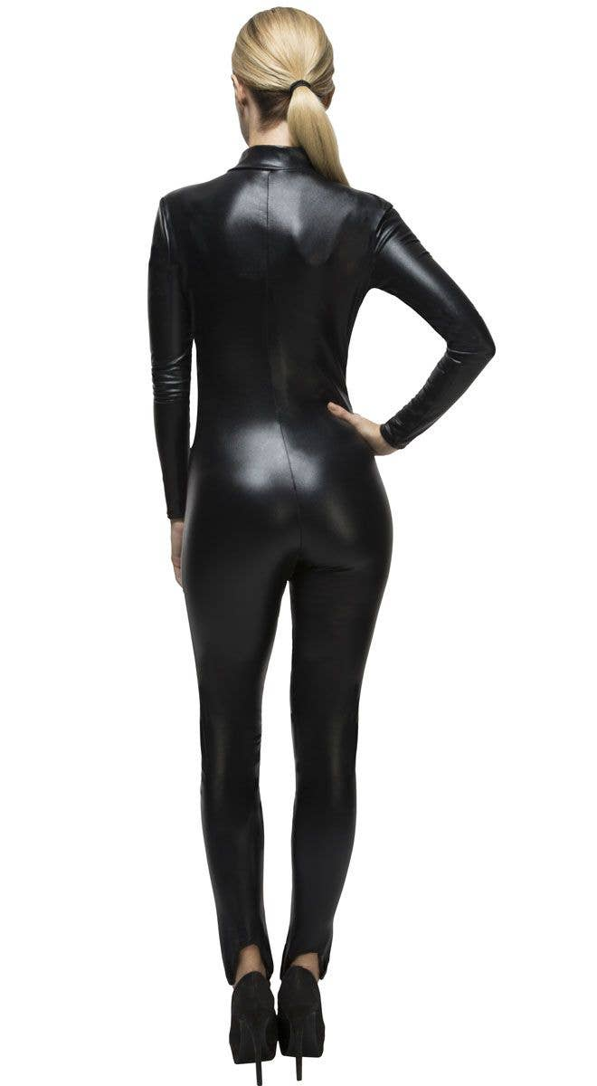 8ca73590ad3 Women s Sexy Black Wet Look Catwoman Costume Back Image