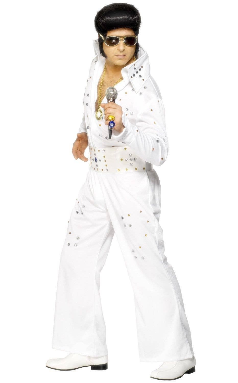 Men s White Official Elvis Presley White Jewelled Jumpsuit Fancy Dress  Costume View 1 d5a3d8c4e23c