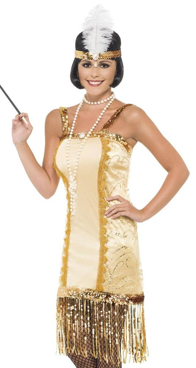 60d36aae Women's Gold Charleston Flapper Fancy Dress Costume Alternate View Image
