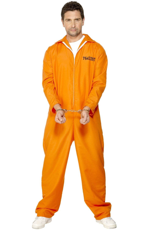 adult's orange prisoner uniform | orange inmate men's costume