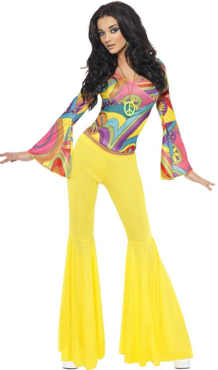 44da164b8dc9d Women s Coloured Retro 60 s 70 s Disco Hippie Groovy Babe Fancy Dress  Costume Alt Image
