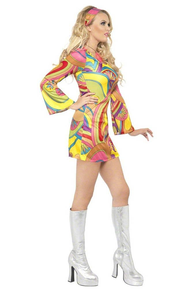 60 Flower Power Women Costume Retro Hippie Sexy Dancer Fancy