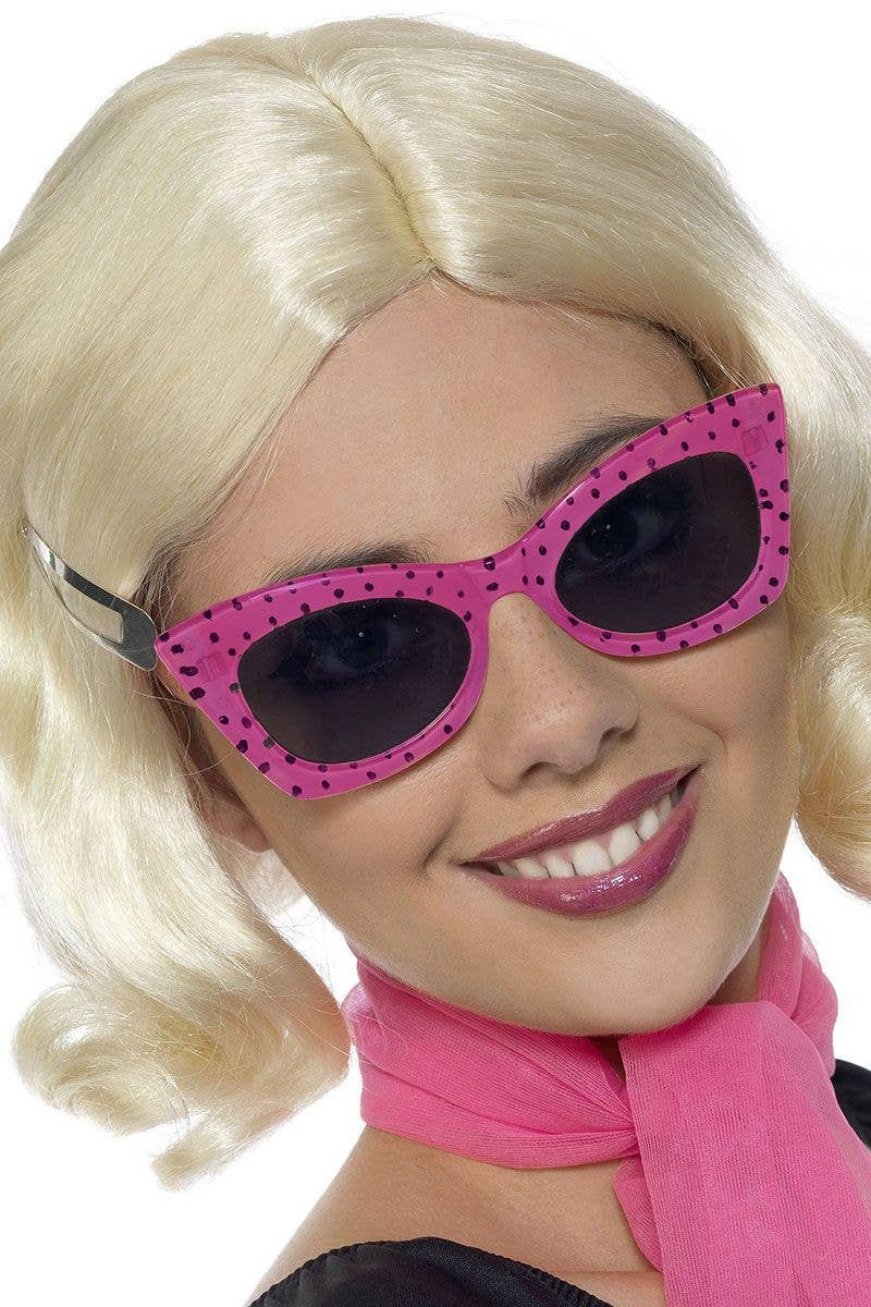 484c6b5310 1950 s Retro Cat Eye Hot Pink Polka Dot Costume Sunglasses