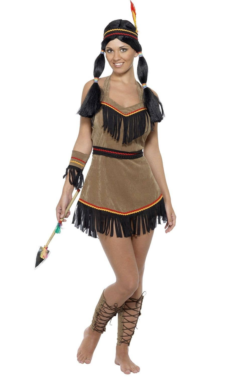 65ed805aa Women's Native American Indian Woman Wild West Fancy Dress Costume Main View