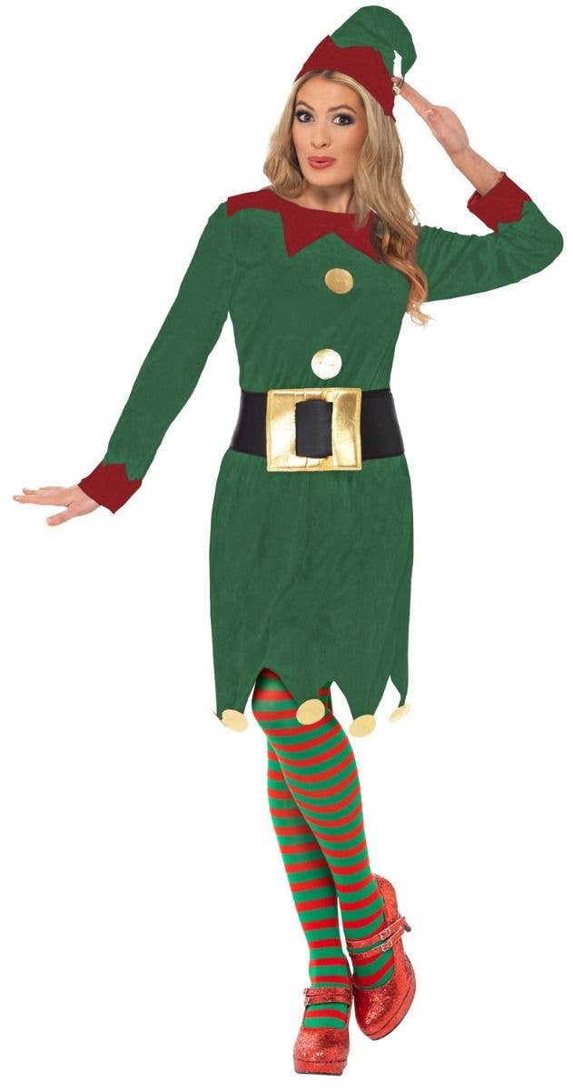31cc976e0e076 Women s Santas Helper Festive Christmas Red And Green Elf Costume Alt Image