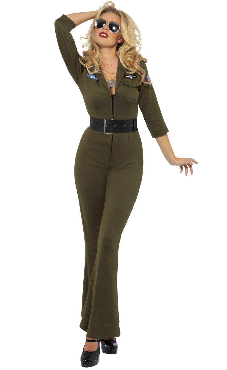 Women s Top Gun Aviator Flightsuit Costume Alt Front View affa03429