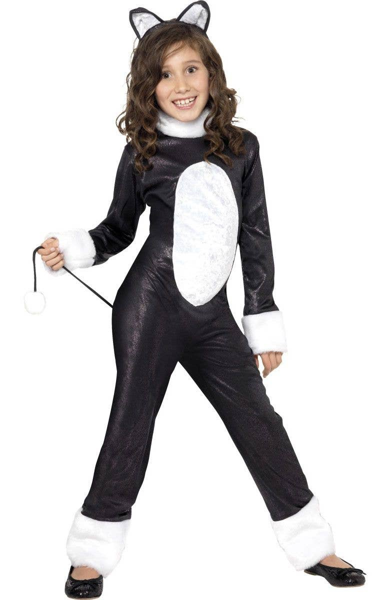 Black Cat Girlu0027s Black and White Animal Costume Front  sc 1 st  Heaven Costumes & Kids Black Cat Costume | Girls Cool Cat Halloween Costume