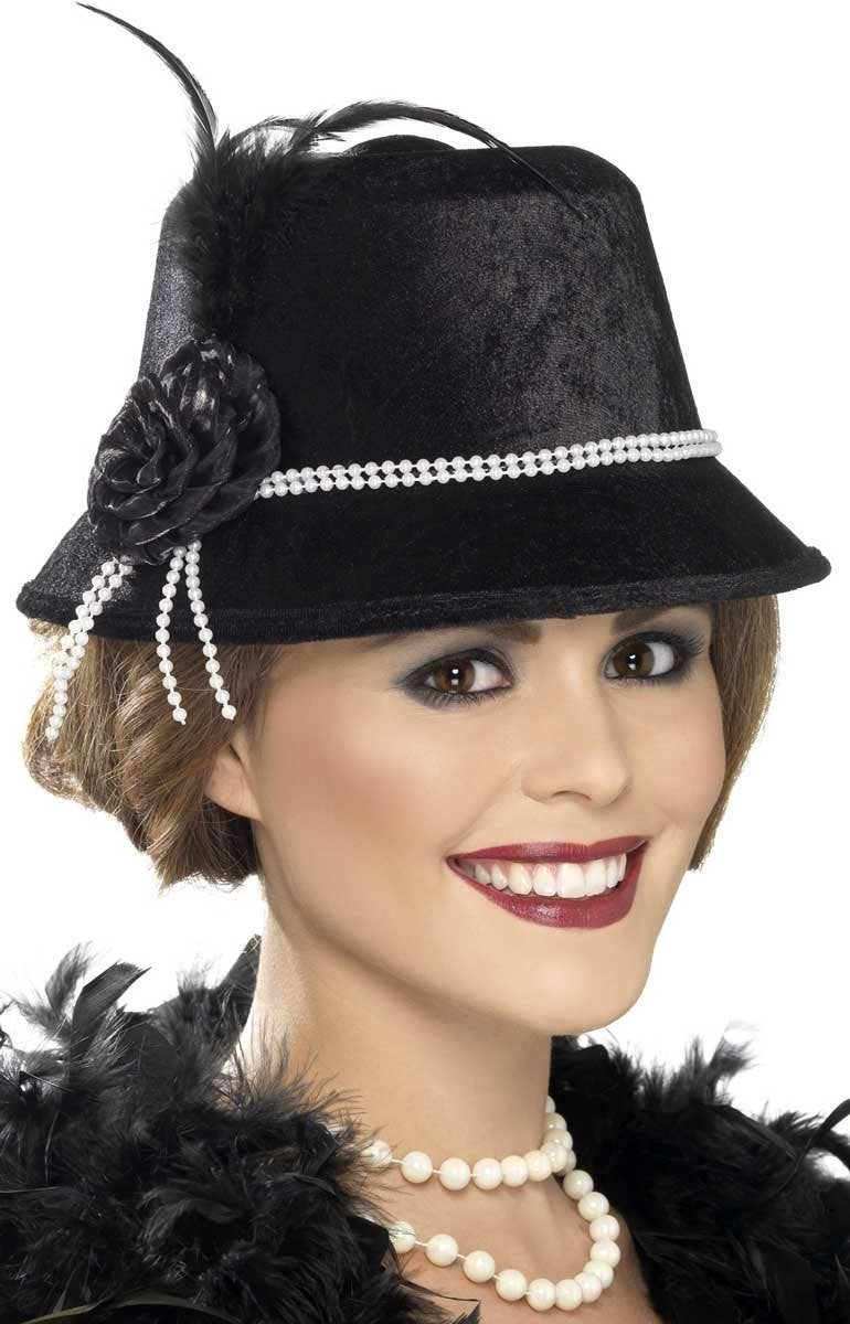 1602d120955 Women s Black 1920 s Cloche Costume Hat Main Image
