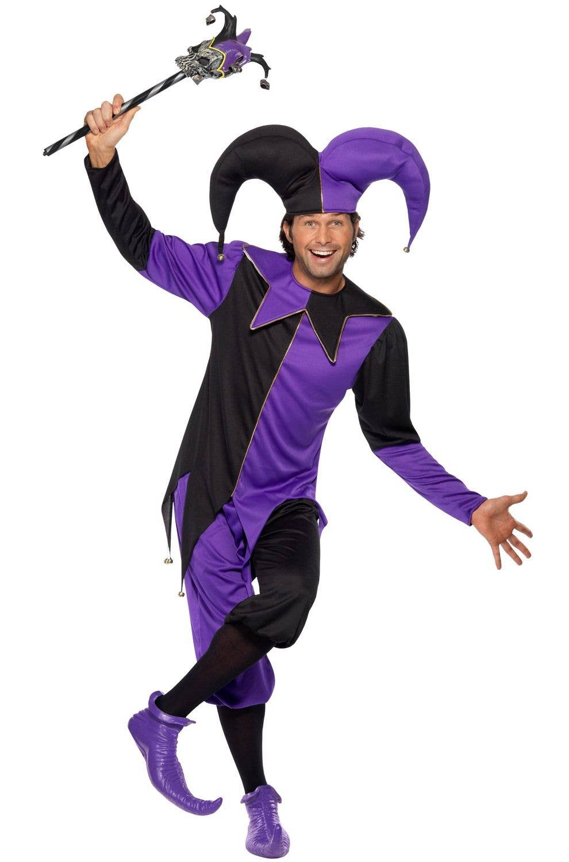 medieval men s jester costume black and purple jester costume