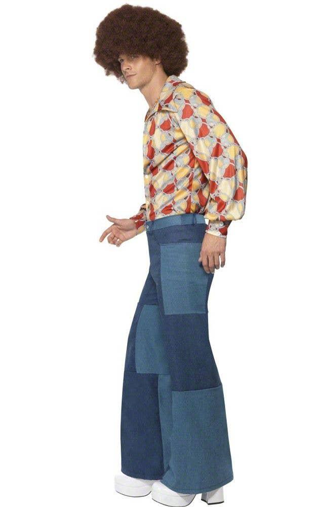Men S Denim Look Disco Pants Patchwork Flared Disco