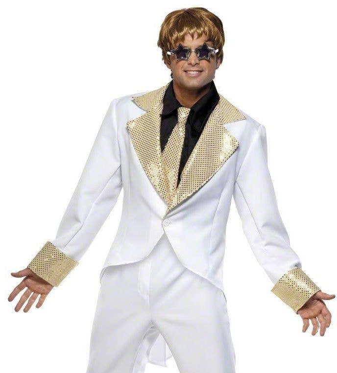 More Views of Menu0027s White Elton John Costume  sc 1 st  Heaven Costumes & Elton John Costume | 70u0027s Rocket Man Menu0027s Fancy Dress Costume