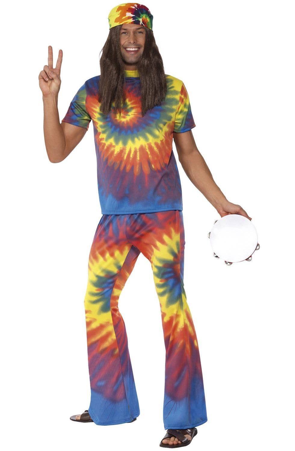 1970's tie-dye men's hippie costume | adult's groovy 70's costume