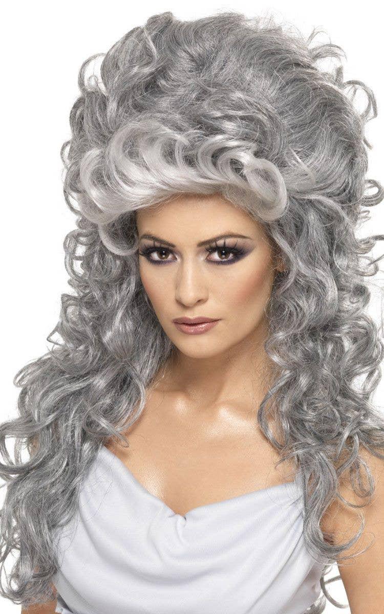 Grey Curly Beehive Ghost Wig Women S Grey Halloween