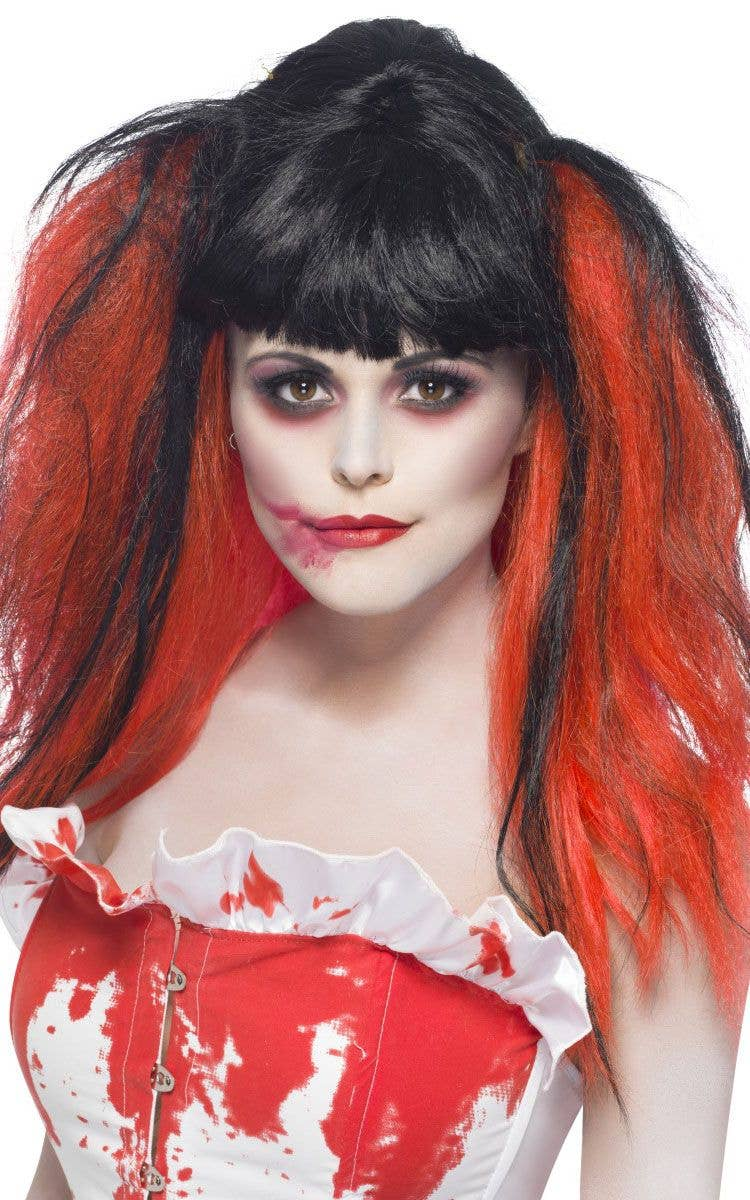 gothic black and red wig | women's vampire wig | punk costume wig