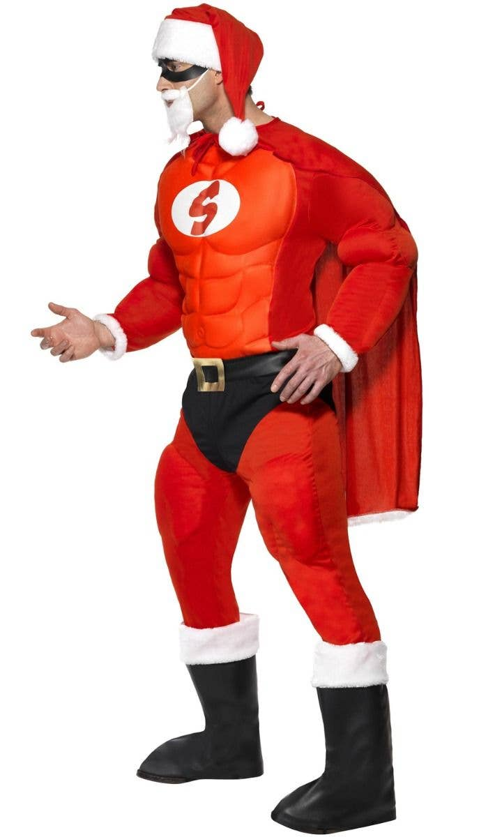 Christmas Fancy Dress Funny.Super Fit Superhero Santa Novelty Men S Costume