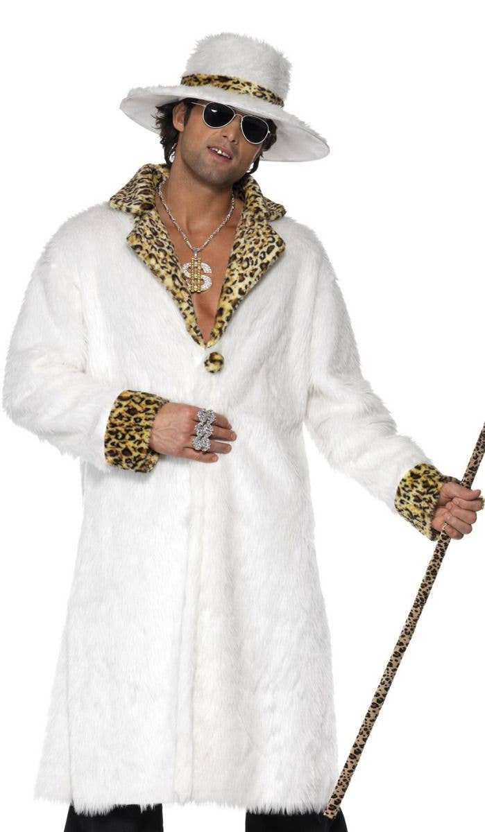 Men s White Fur Pimp Gangsta Costume Zoom Image b48b1b09590f