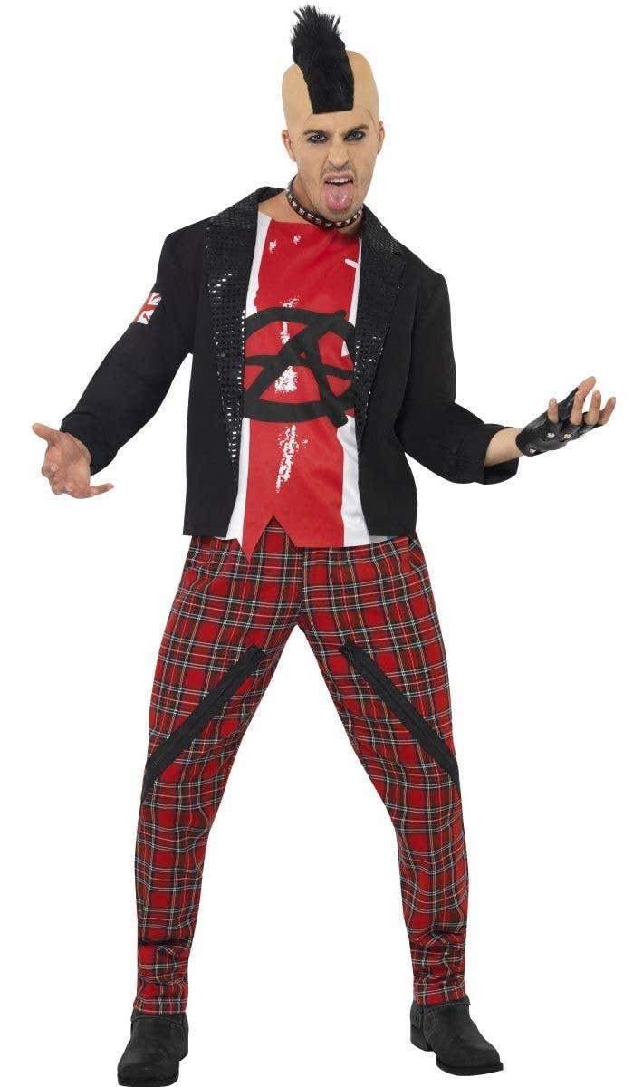 Mens 80s British Punk Fancy Dress Costume Front