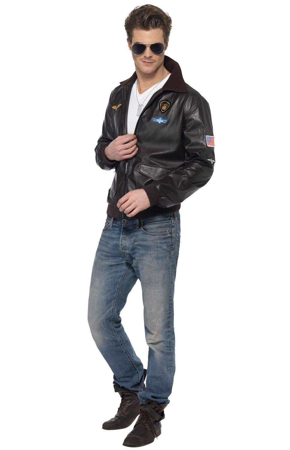 Men S Top Gun Leather Look Bomber Jacket Maverick Top Gun Costume