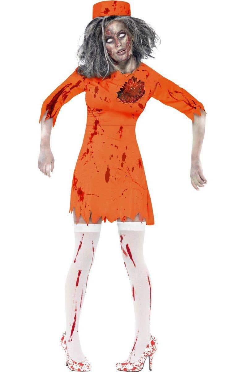 zombie prisoner women's costume | convict zombie costume