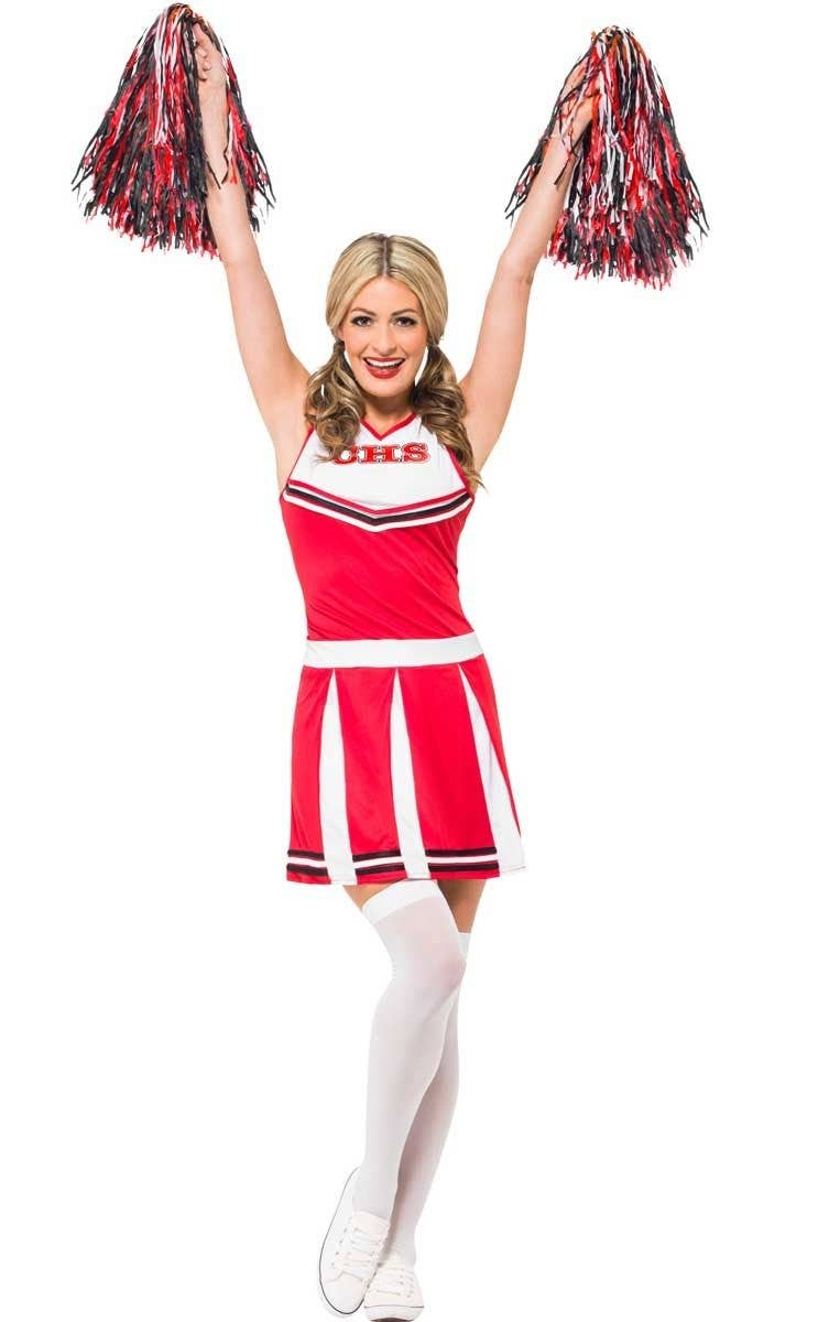b446a8940b01 Classic Red Cheerleader Costume | Red Cheerleader Women's Costume