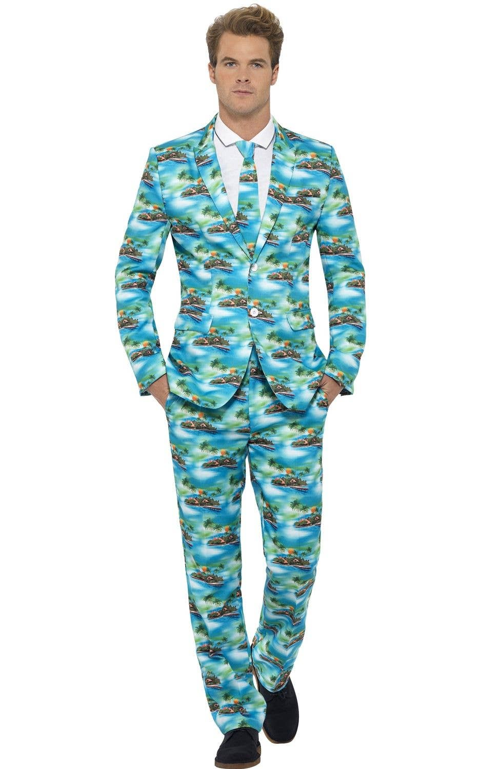 71b31e4c3f06 Tropical Hawaiian Stand Out Suit | Blue Hawaiian Print Men's Costume