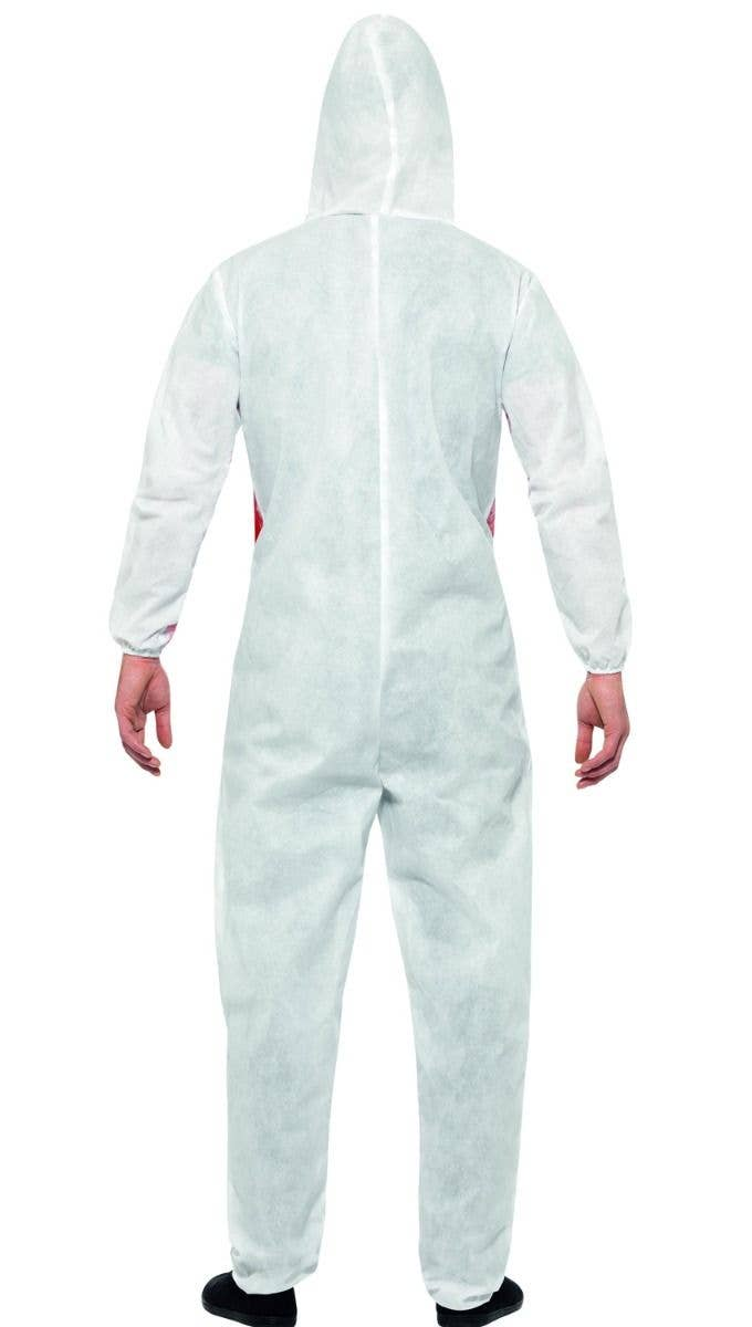 4494ee0989 Men s White Bloody Forensic Crime Scene With Blood Splatter Halloween Fancy  Dress Costume Back View Image