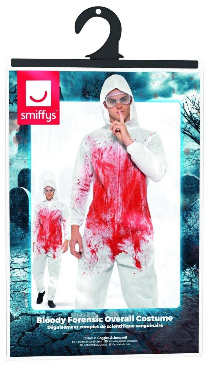 e8889ca38f Men s White Bloody Forensic Crime Scene With Blood Splatter Halloween Fancy  Dress Costume Packaging Image