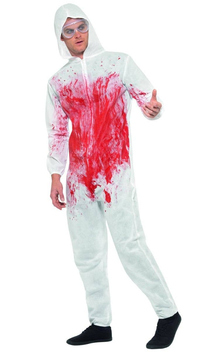 d596d88dc4 Men s White Bloody Forensic Crime Scene With Blood Splatter Halloween Fancy  Dress Costume Alt 2 Image