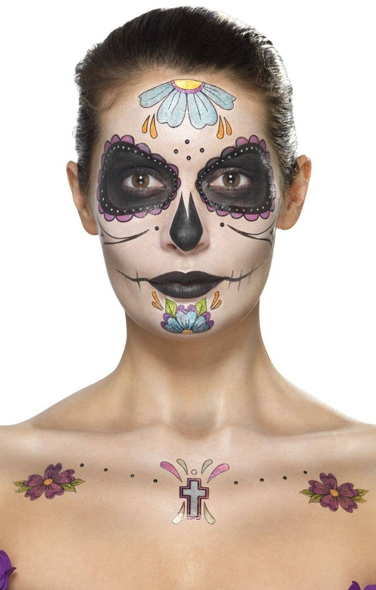 a1827e0834430 Women's Stick On Day Of The Dead Tattoo Makeup Kit Mexican Halloween  Costume Accessory Face Paint