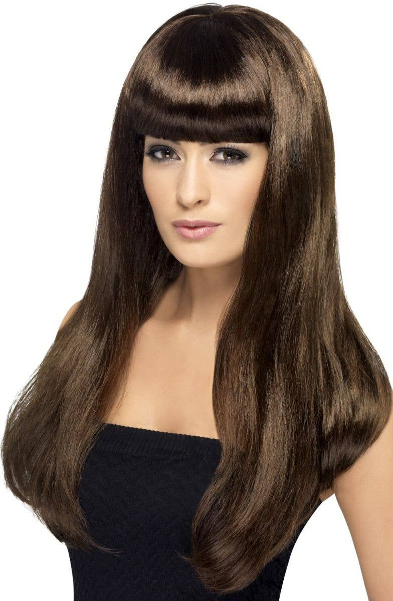 Smiffys Babelicious Women-s Long Brown Wig with Fringe- Main View 1fe1dee6b