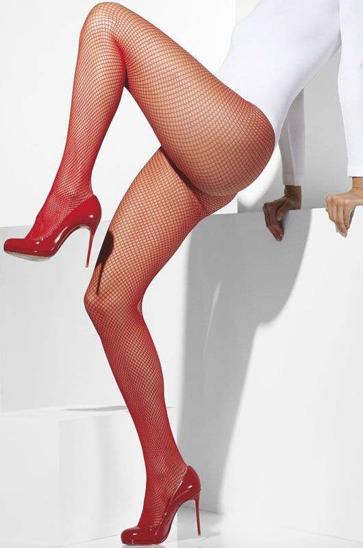 4d1f7b14af981a Women's Red Fishnet Stockings | Full Length Red Fishnet Pantyhose