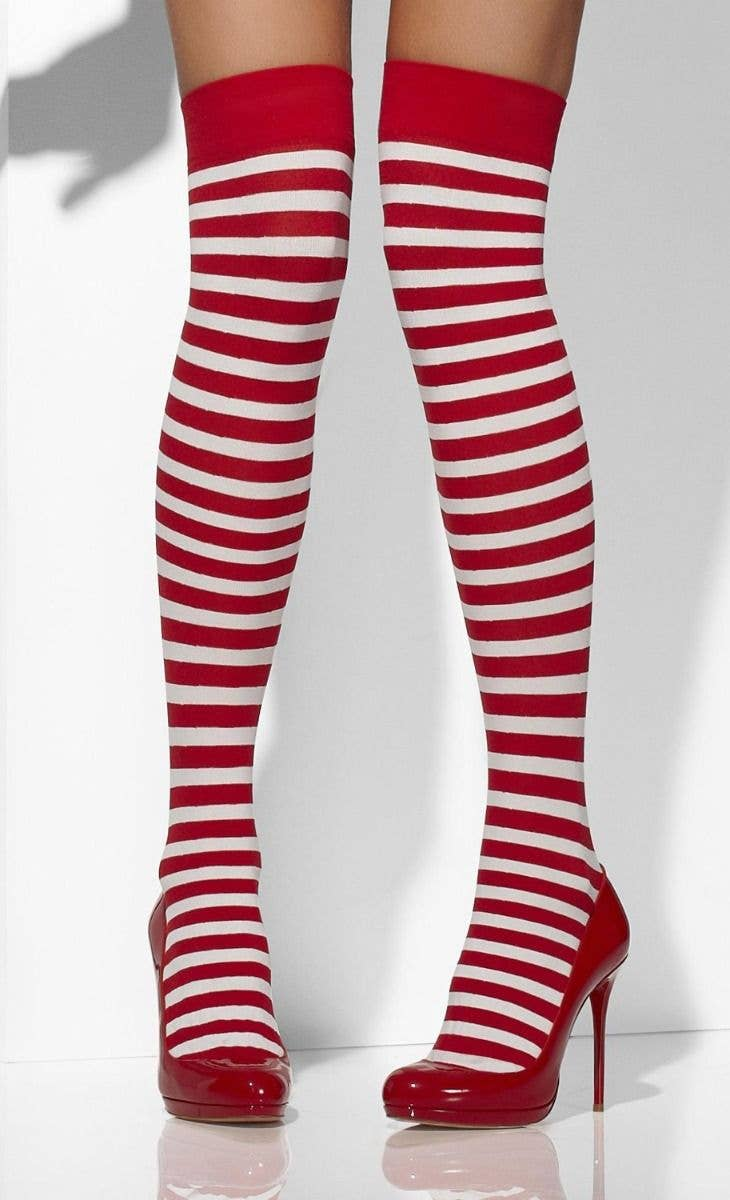 018397ee7 Women s White And Red Striped Thigh High Stockings Christmas Tights Hosiery  Main Image