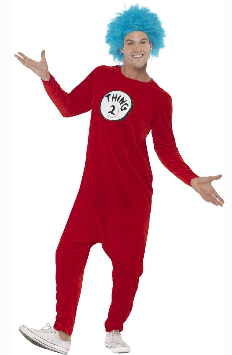 Thing 1 or Thing 2 Fancy Dress Costume for Adult's Front View 2