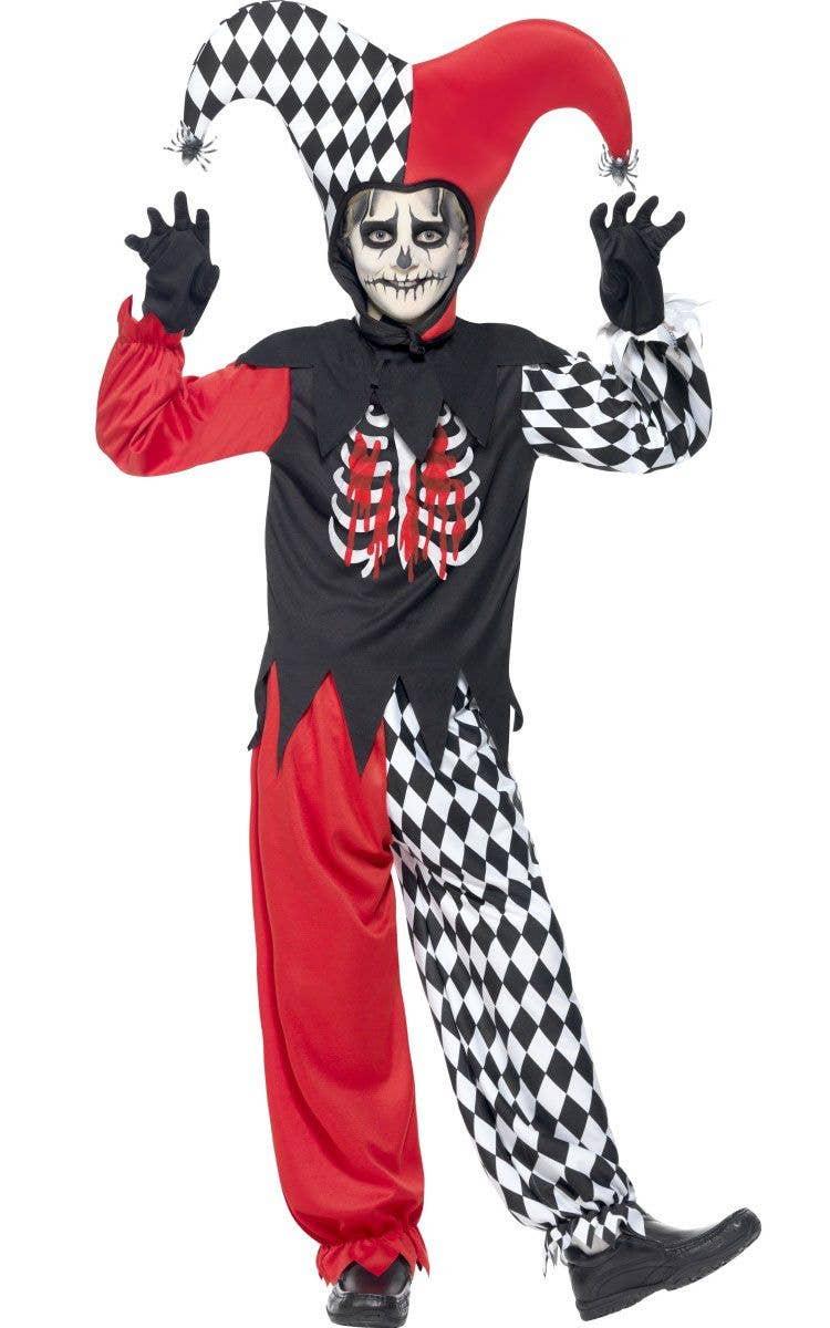 06dd7aa4625 Boy s Creepy Jester Harlequin Halloween Costume Front View
